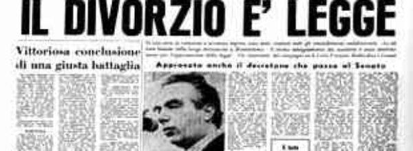 I° dicembre 1970, in Italia  viene introdotto il DIVORZIO. Una data storica