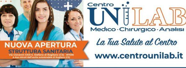 Santo Stefano di Rogliano: sabato 9 ottobre inaugurazione del centro sanitario Unilab ( clicca qui  per continuare a leggere).